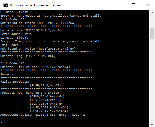 unistall-package-console-output