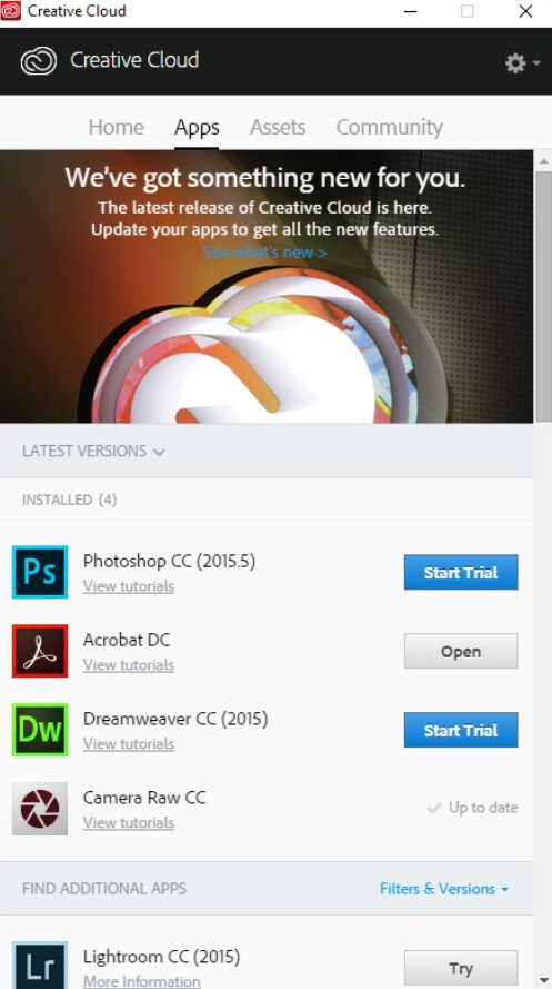 Aplicativo de desktop da Creative Cloud