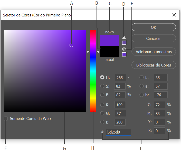 Seletor de cores do Photoshop