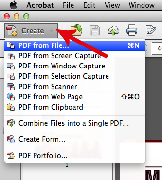 In Acrobat, choose Create > PDF From File