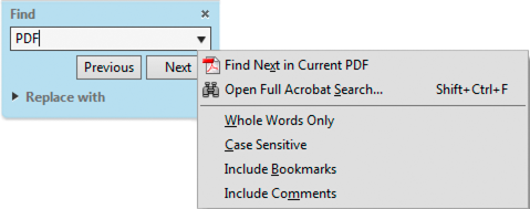 Find toolbar with Find and Replace options