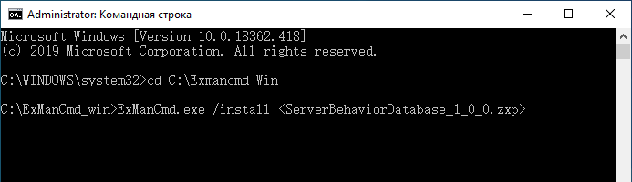 Команда установки в Windows