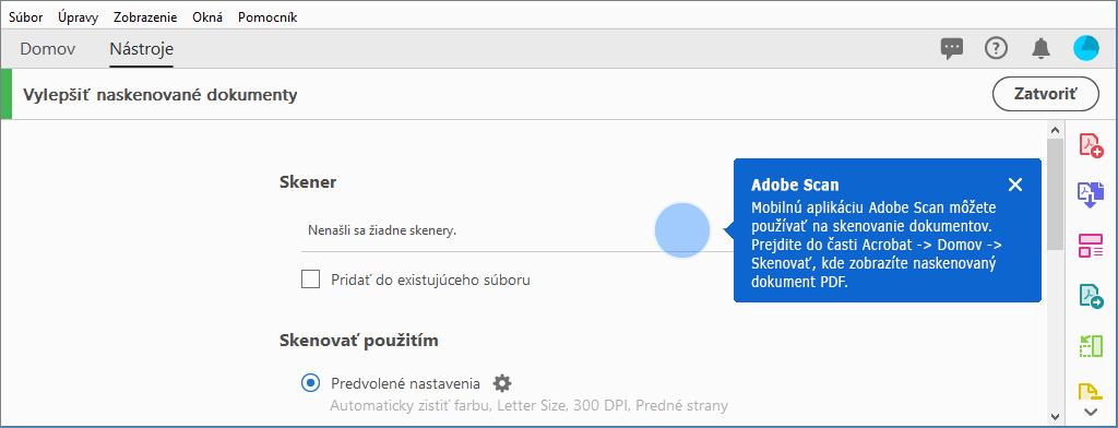 ba87adc1e Kontextový tip na použitie mobilnej aplikácie Adobe Scan, ak sa nenájdu  skenery
