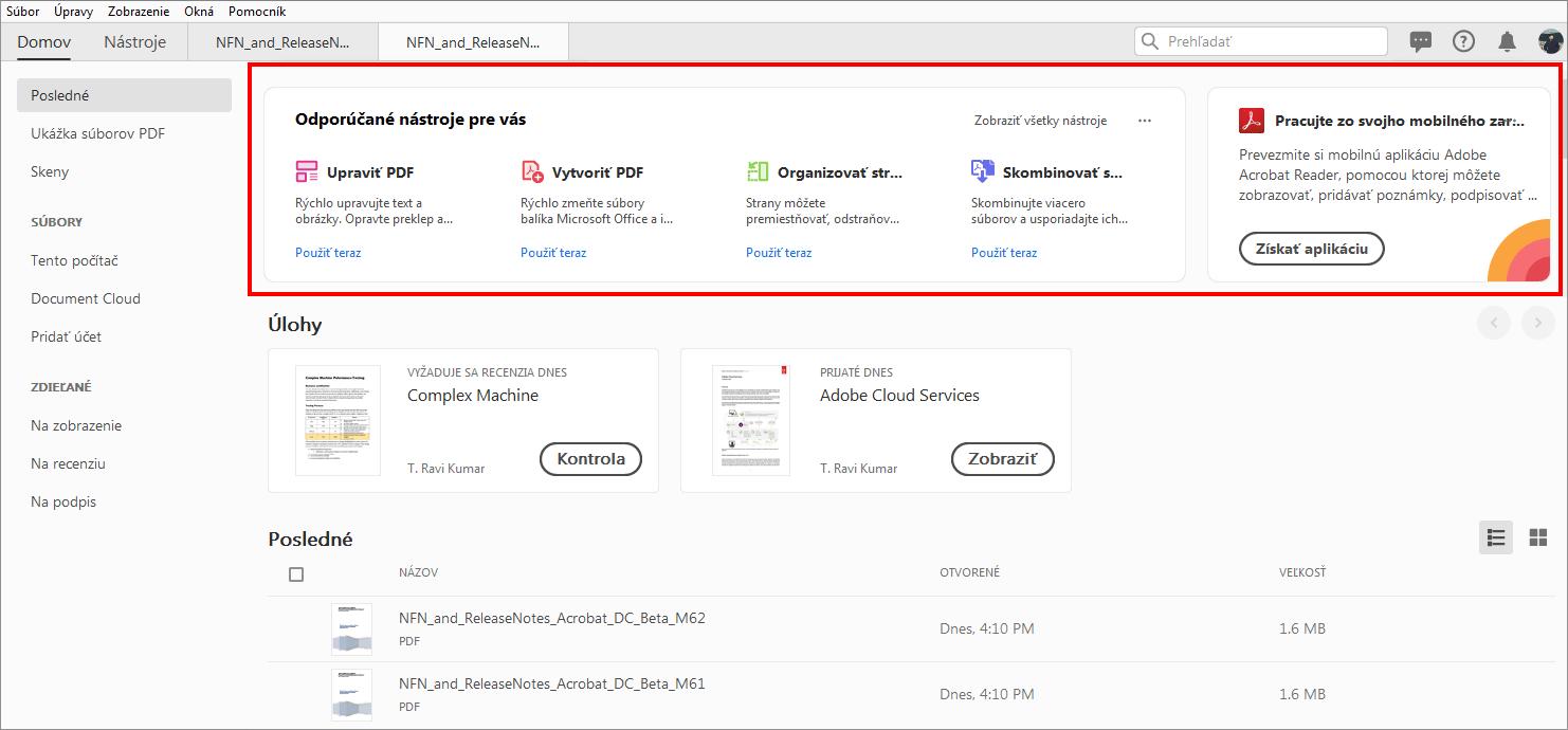 1542438fb Čo je nové v aplikácii Adobe Acrobat DC