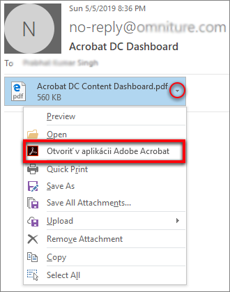 a754fe510 Otvorenie v aplikácii Acrobat pomocou rozbaľovacieho zoznamu príloh