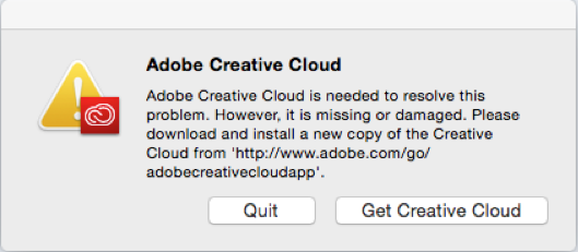 """Adobe Creative Cloud is needed to resolve this problem"" error message"