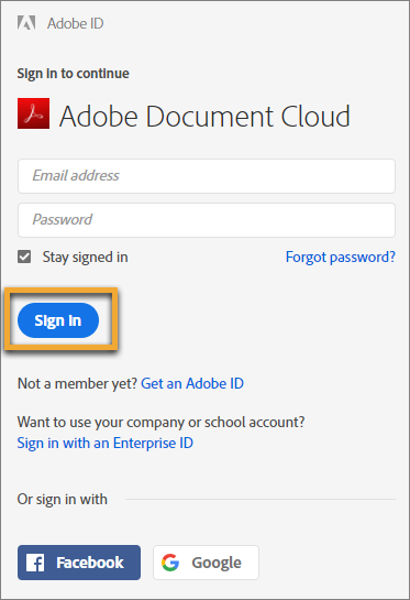 Prijava v Adobe Document Cloud