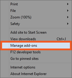 Choose Manage Add-ons