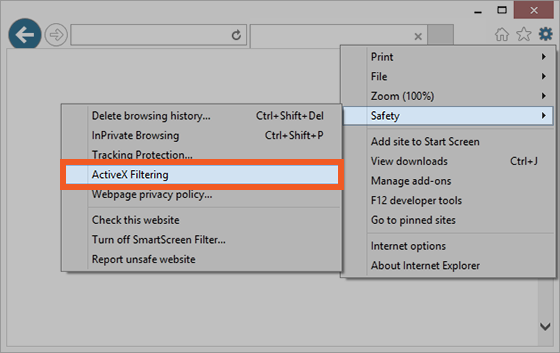 Choose Safety, ActiveX Filtering