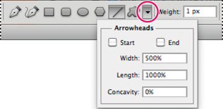 Photoshop Accessing shape tool options in the options bar