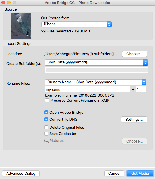 Adobe Bridge Photo Downloader