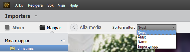 Sortera filer i vyn Mediefiler