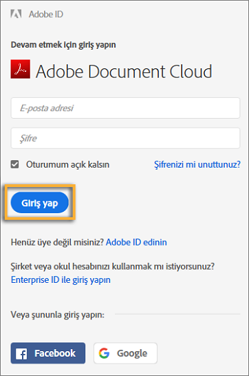Adobe Document Cloud'da oturum açma