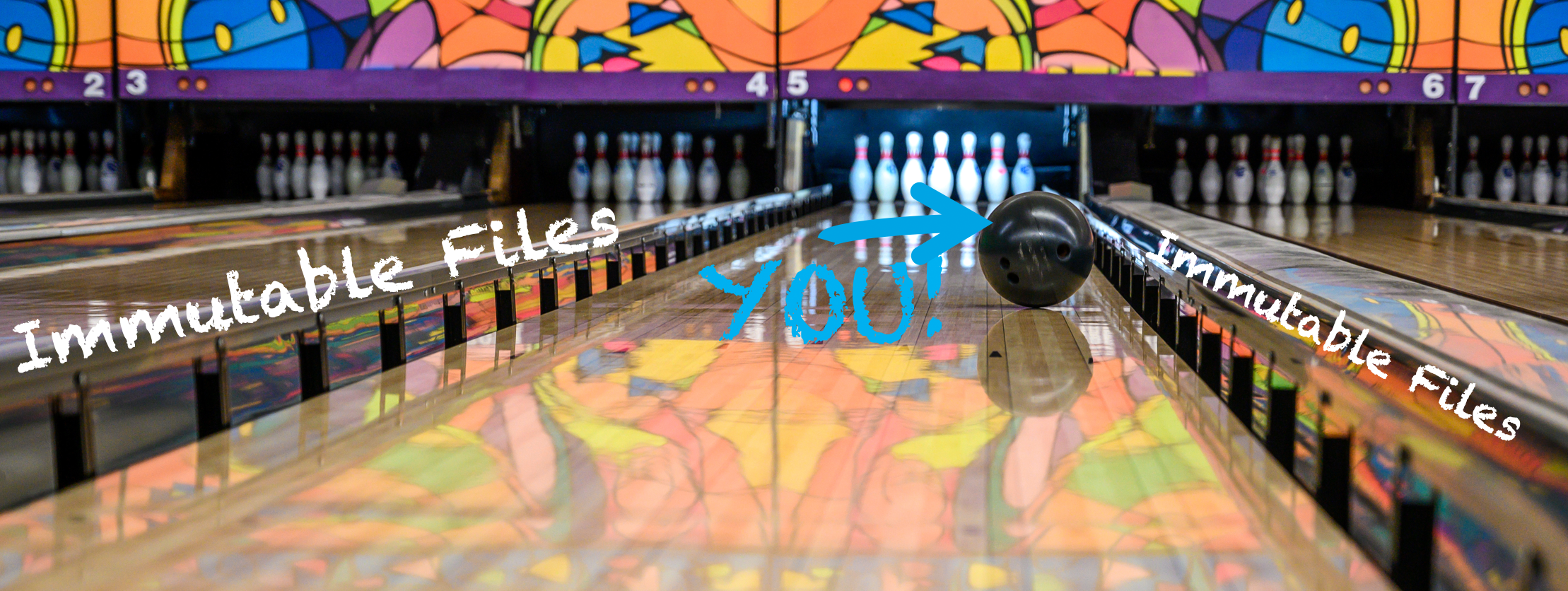 "Shows a bowling lane with a ball rolling down the lane.  The ball has an arrow with the word showing ""you"".  The gutter bumpers are raised and they have the words ""immutable files"" above them."