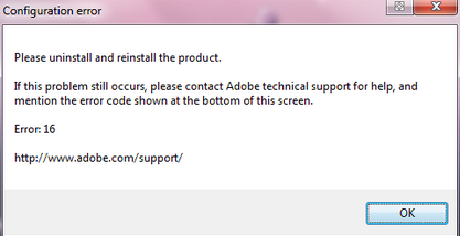 Configuration Error In Adobe Creative Cloud