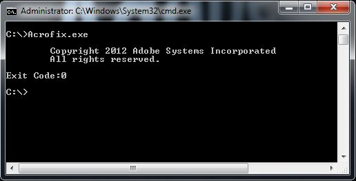 Adobe Acrofix.exe Command Prompt