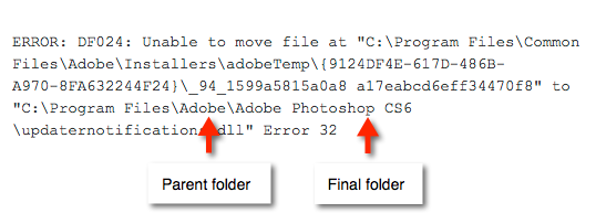 Identify the parent folder for each error message