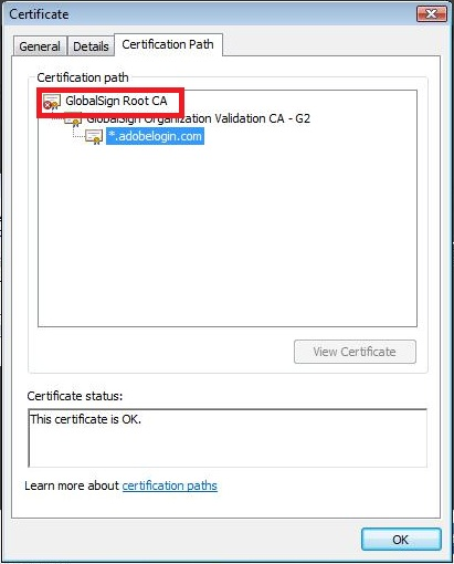 Click Certification Path, GlobalSign Root CA