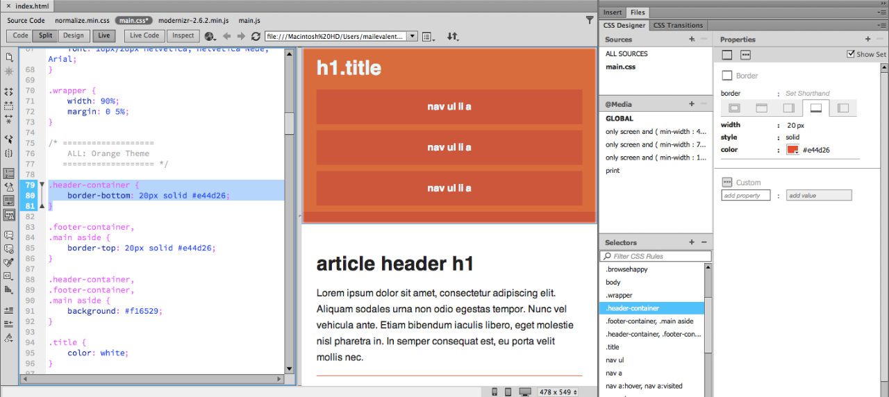 Figure 9. Code View showing CSS for header-container styled with CSS Designer