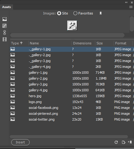 Work with assets in Dreamweaver