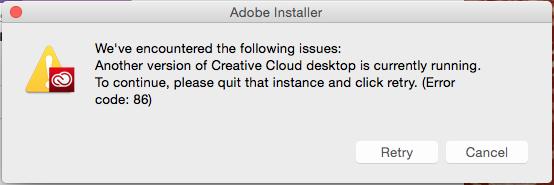 Error Code 86 | Adobe Creative Cloud
