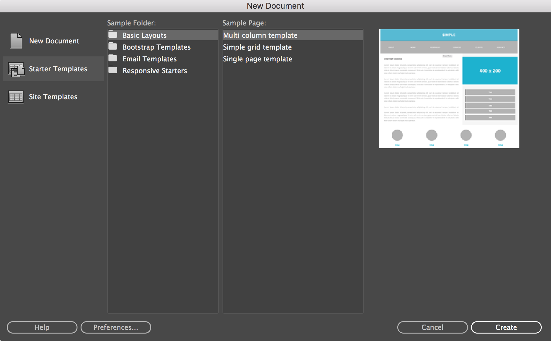 to create and open files in Dreamweaver