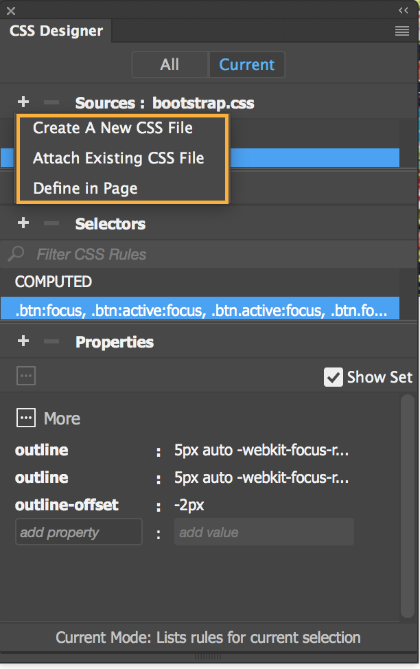 How to use the CSS Designer panel in Dreamweaver