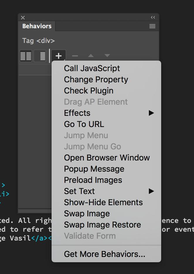 Use jQuery effects in dreamweaver
