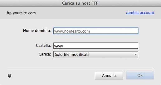 Specificate il nome di dominio del sito Web