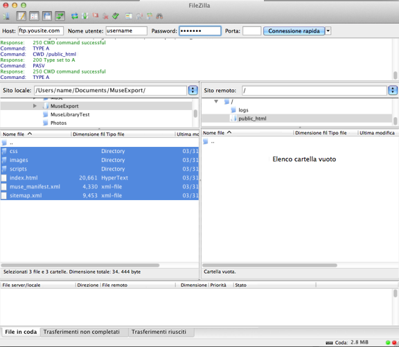 Caricamento sul server FTP mediante FileZilla