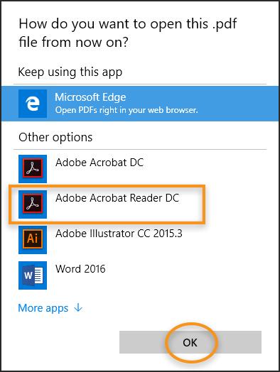 windows 10 において pdf ファイルをいつも acrobat または reader で