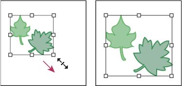 バウンディングボックスを使用して拡大する前のオブジェクト(左)と拡大した後のオブジェクト(右)