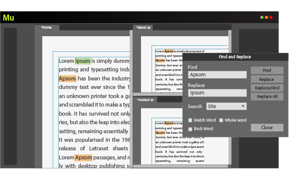 Use the Find and Replace feature to search for words or phrases and replace text across pages.