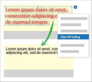 Use Clear All Styling to remove all the styling applied to a page item.