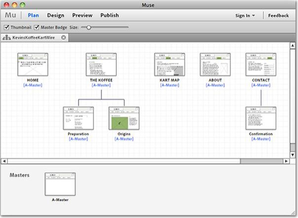 Wireframe website layouts in Adobe Muse