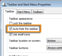 Set The Taskbar Properties To Hide So You Can Select Print Button